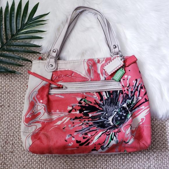 Coach Handbags - Coach Poppy Flower Canvas Shoulder Tote Bag